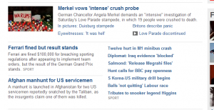 Extract of the BBC News site, the desired layout