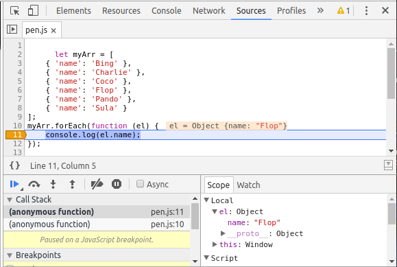 Screenshot of Triggered Conditional Breakpoint in Chrome Dev Tools
