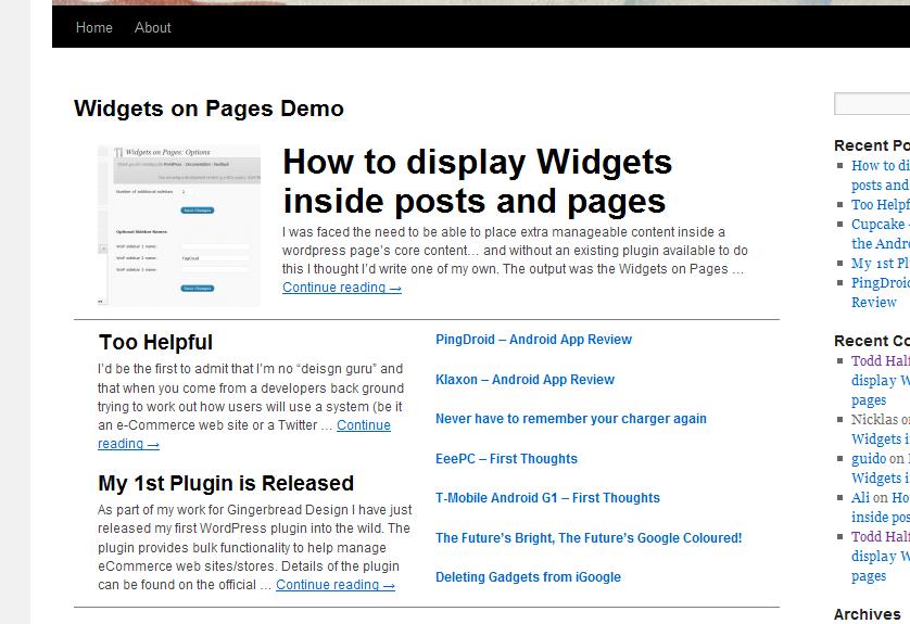 Screenshot of layout